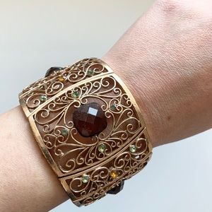 ✨ANTHROPOLOGIE Stretch Gold Arm Cuff Bracelet